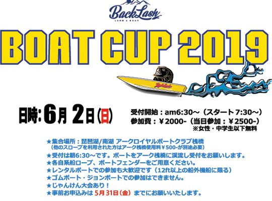 BACKLASH ボートカップ2019開催のお知らせ